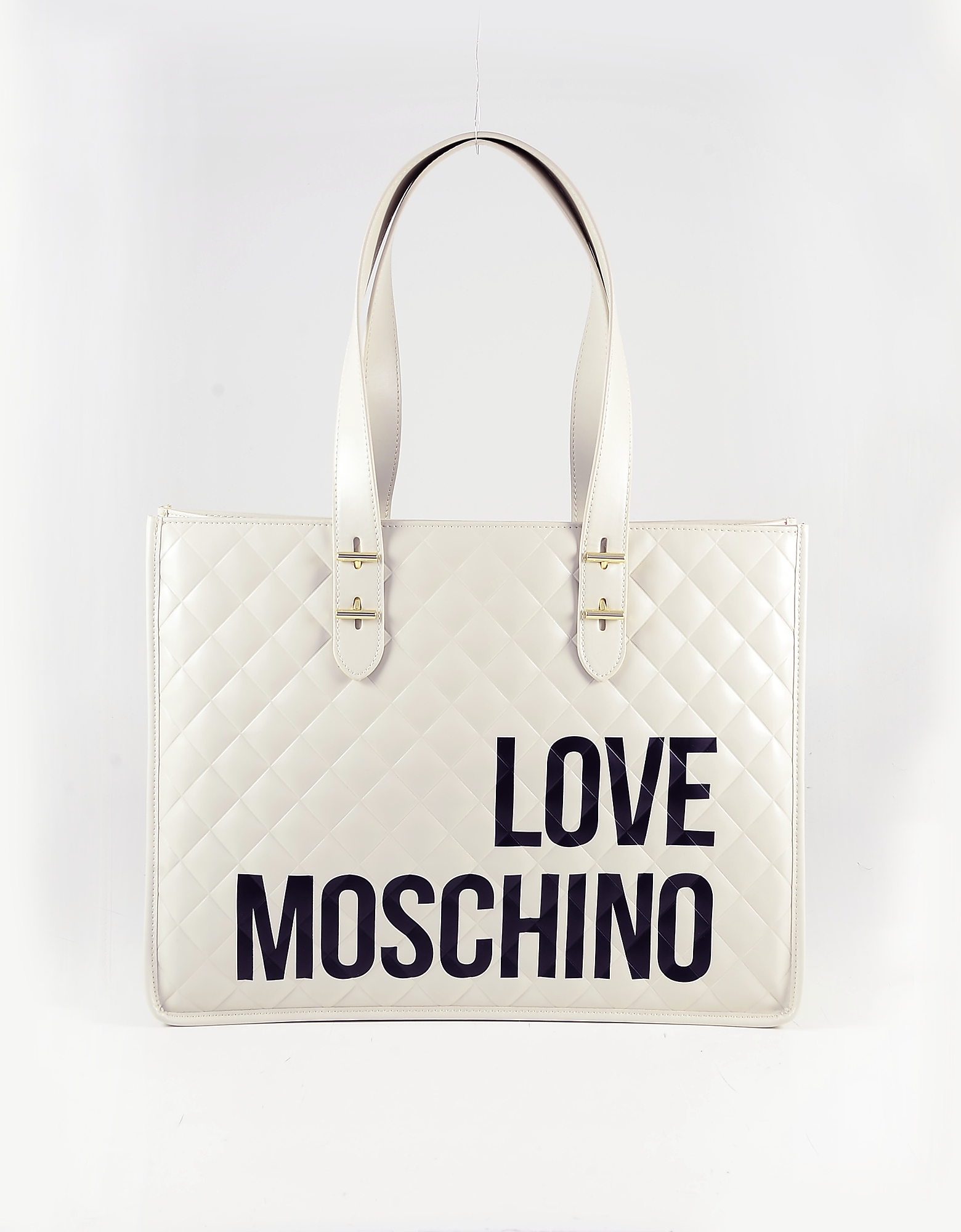Love Moschino Signature Ivory Quilted Eco Leather Tote Bag