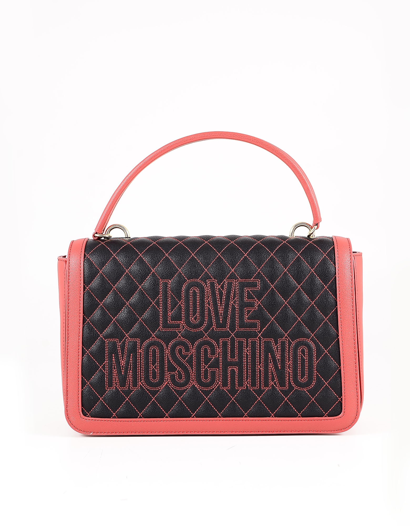 Love Moschino Black & Red Quilted Eco Leather Top-handle Bag