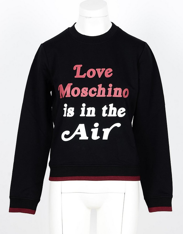 Love is in the Air Black Cotton Women's Sweatshirt - Love Moschino