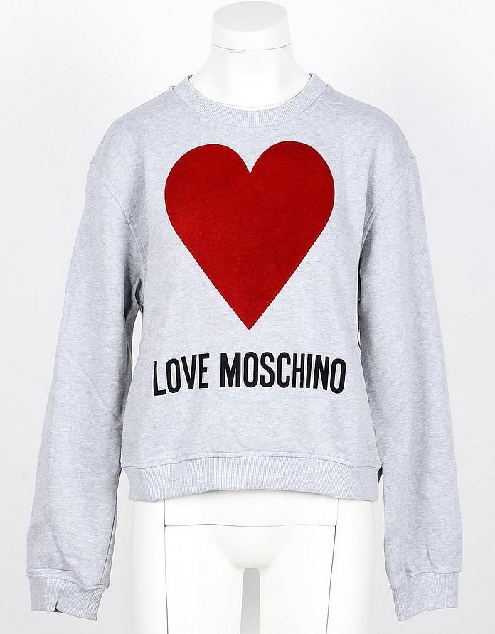 Gray Cotton Women's Sweatshirt w/heart - Love Moschino