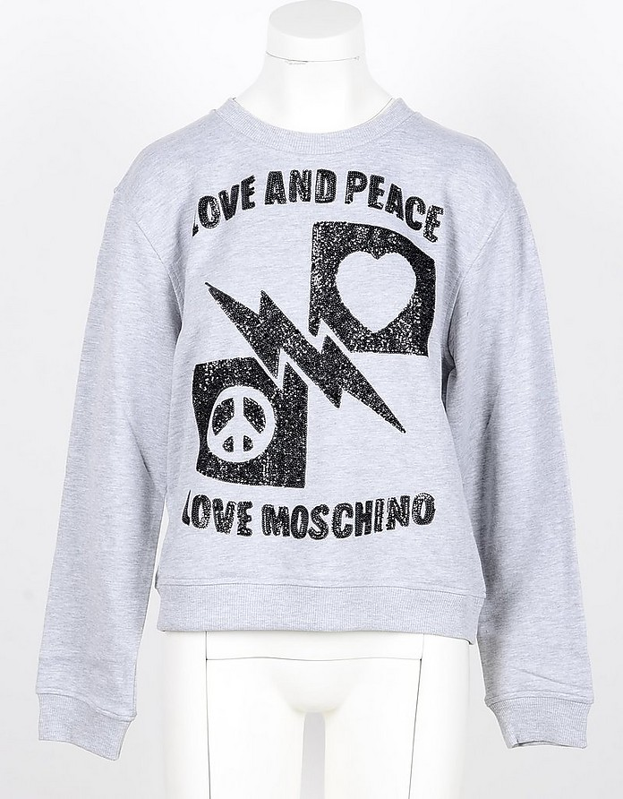 Love and Peace Gray Cotton Women's Sweatshirt  - Love Moschino