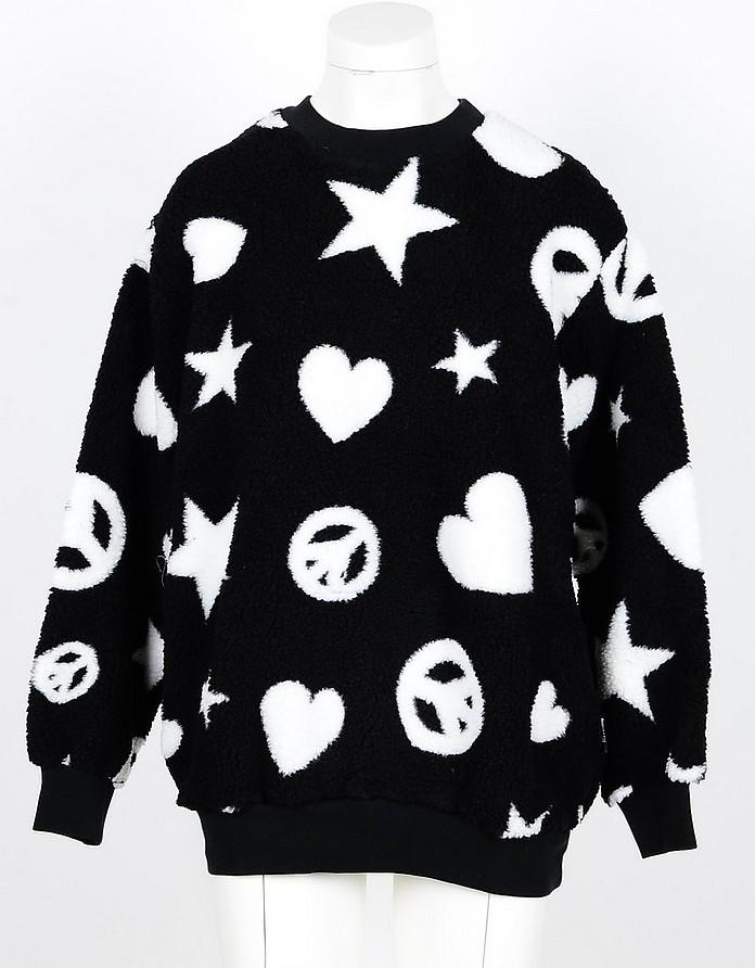 Black Signature Teddy Sweatshirt - Love Moschino