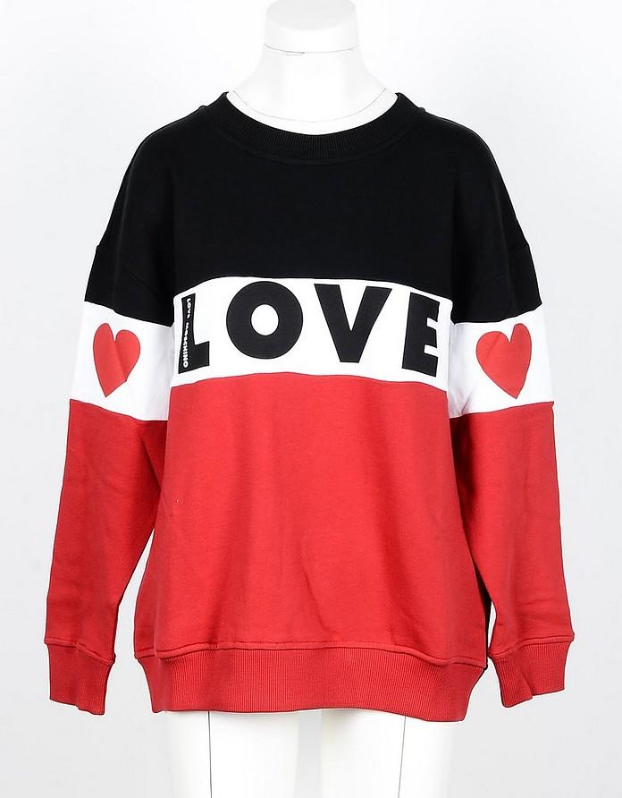 Signature Color-Block Cotton Women's Sweatshirt - Love Moschino
