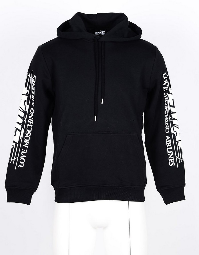 Black Cotton Men's Hoodie - Love Moschino