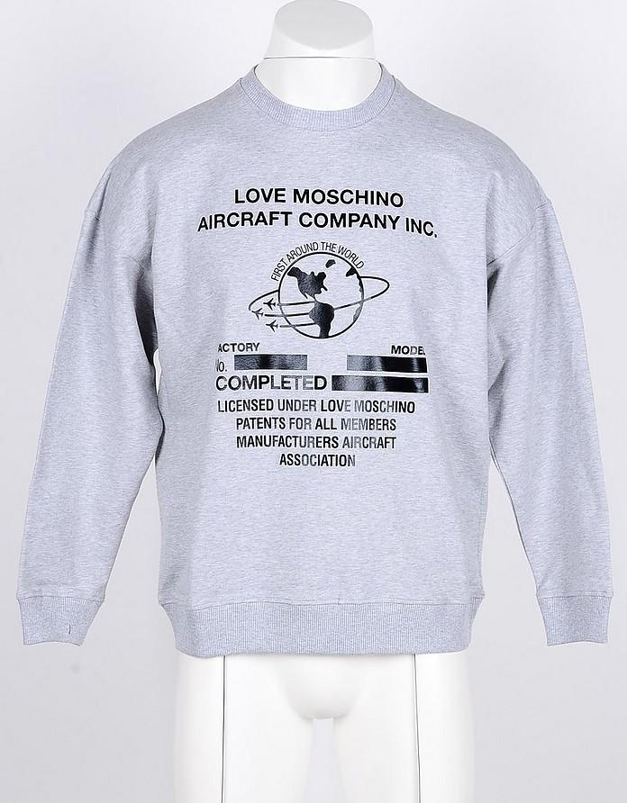 Gray Cotton Men's Sweatshirt - Love Moschino