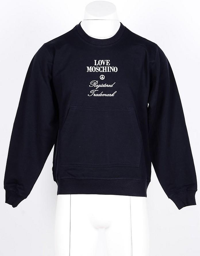 Blue Cotton Blend Men's Sweatshirt - Love Moschino