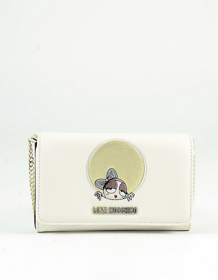 Ivory Eco-Leather Women's Wallet on a Chain - Love Moschino
