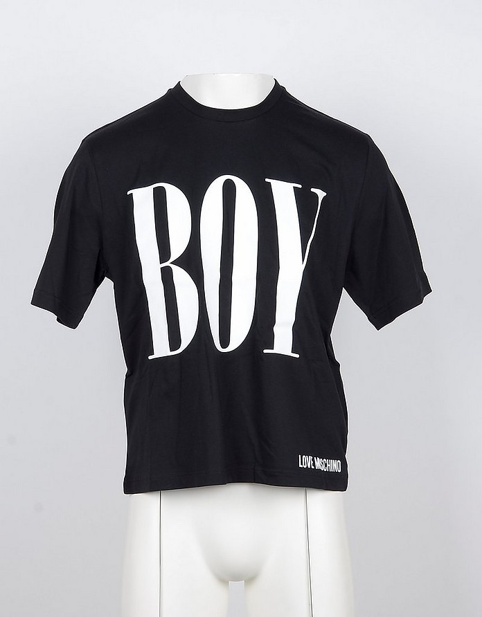 Boy Black Cotton Men's T-shirt - Love Moschino