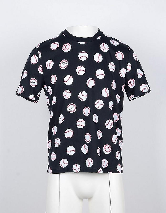 Baseball Ball Print Black Cotton Men's T-shirt - Love Moschino