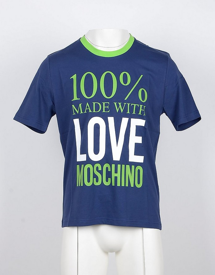 Made with Love Blue Cotton Men's T-shirt - Love Moschino