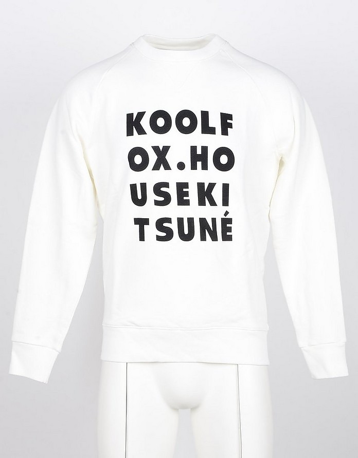 White Cotton Men's Sweatshirt - Maison Kitsuné