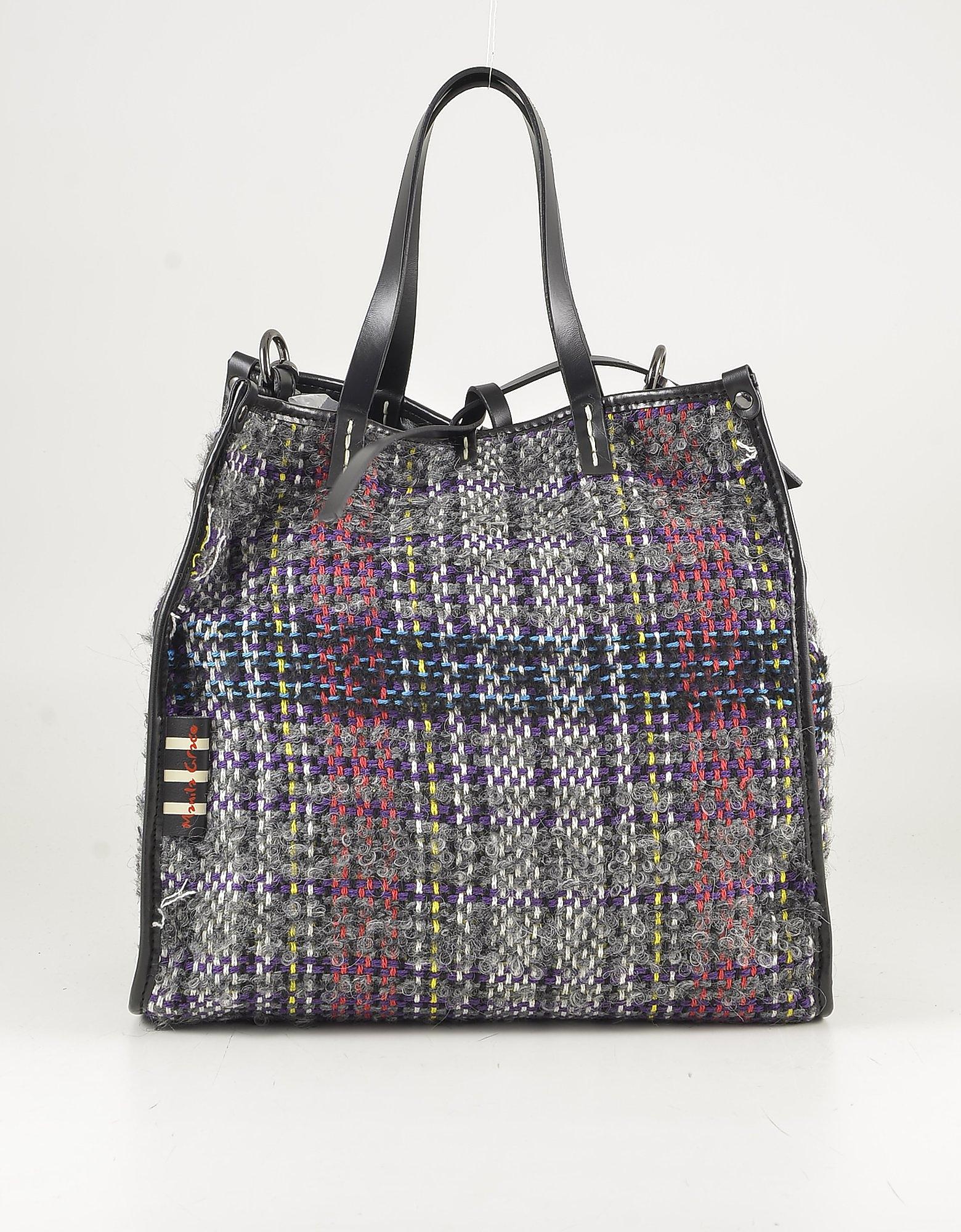 Manila Grace Black Tweed & Eco-leather Tote Bag