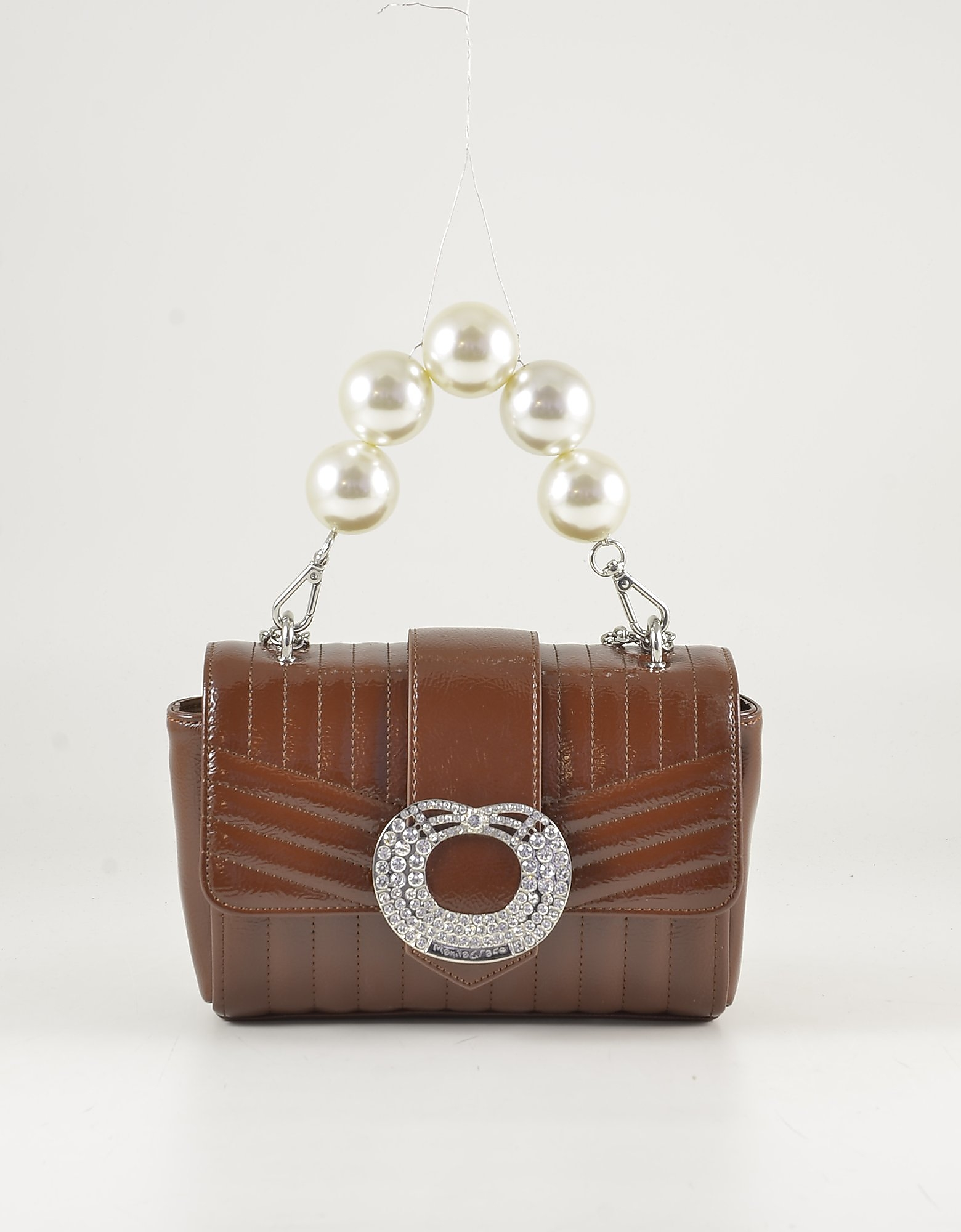 Manila Grace Brown Quilted Eco-leather Mini Bag W/oversized Pearl Handle