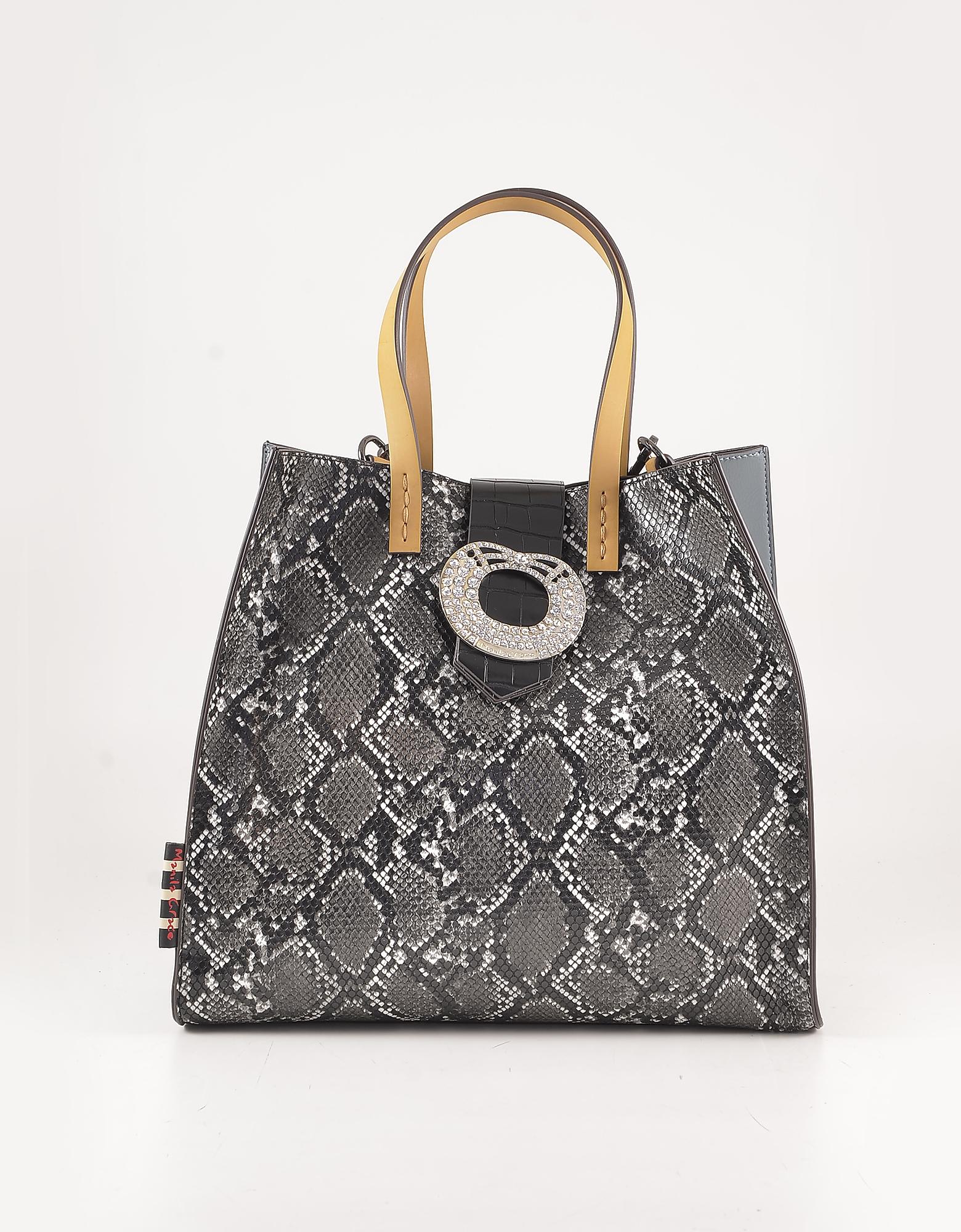 Manila Grace Python Print Eco-leather Bag W/yellow Handles In Gray