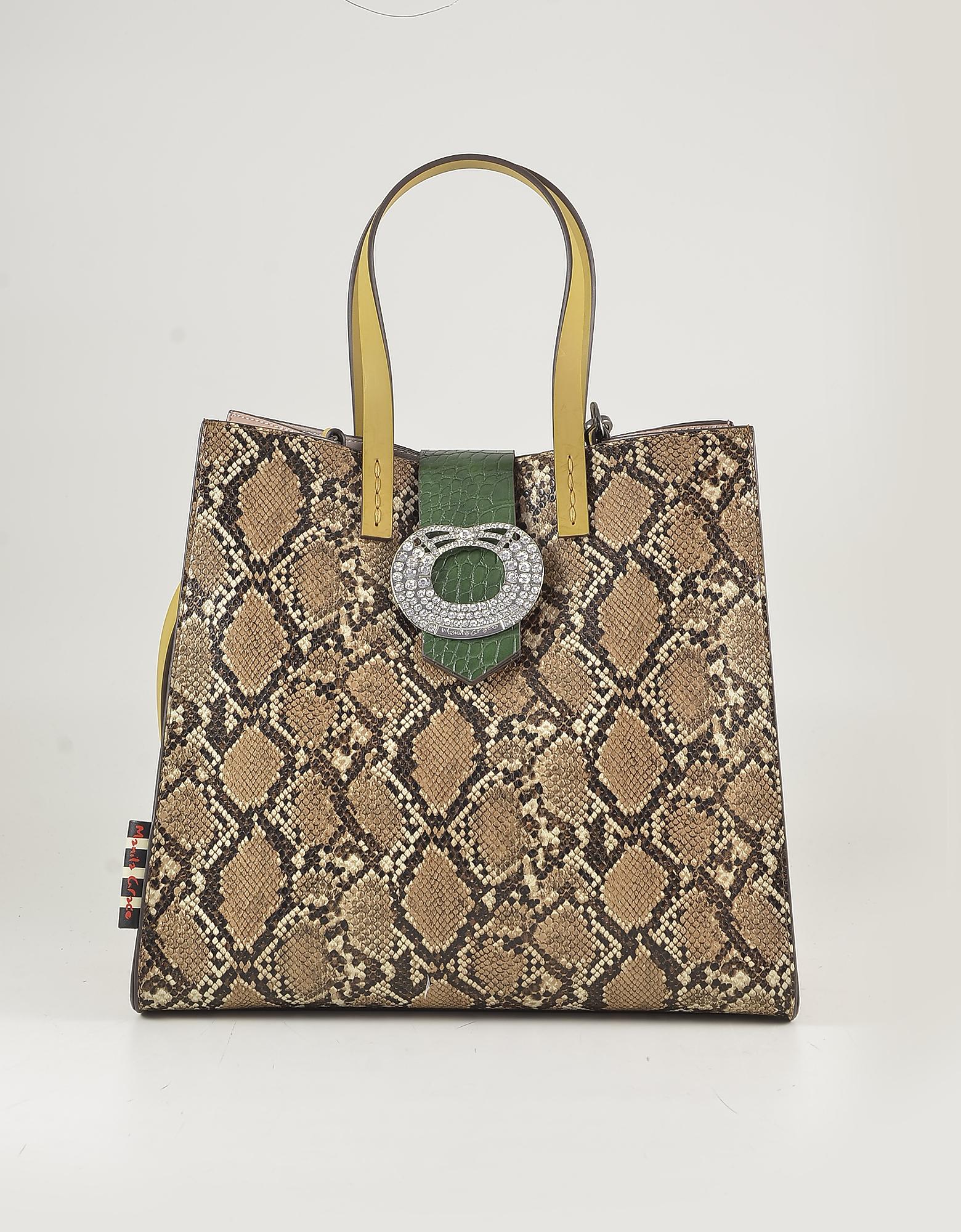 Manila Grace Light Brown Animal Print Eco Leather Tote Bag