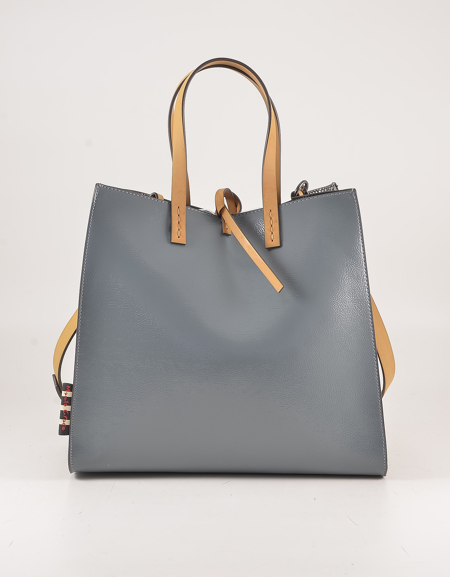 Manila Grace Color Block Eco-leather Tote Bag In Blue