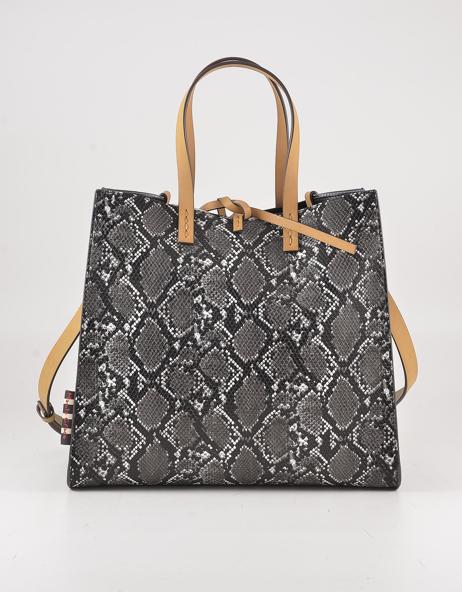 Manila Grace Python Embossed Eco-leather Tote Bag W/yellow Top Handles And Strap