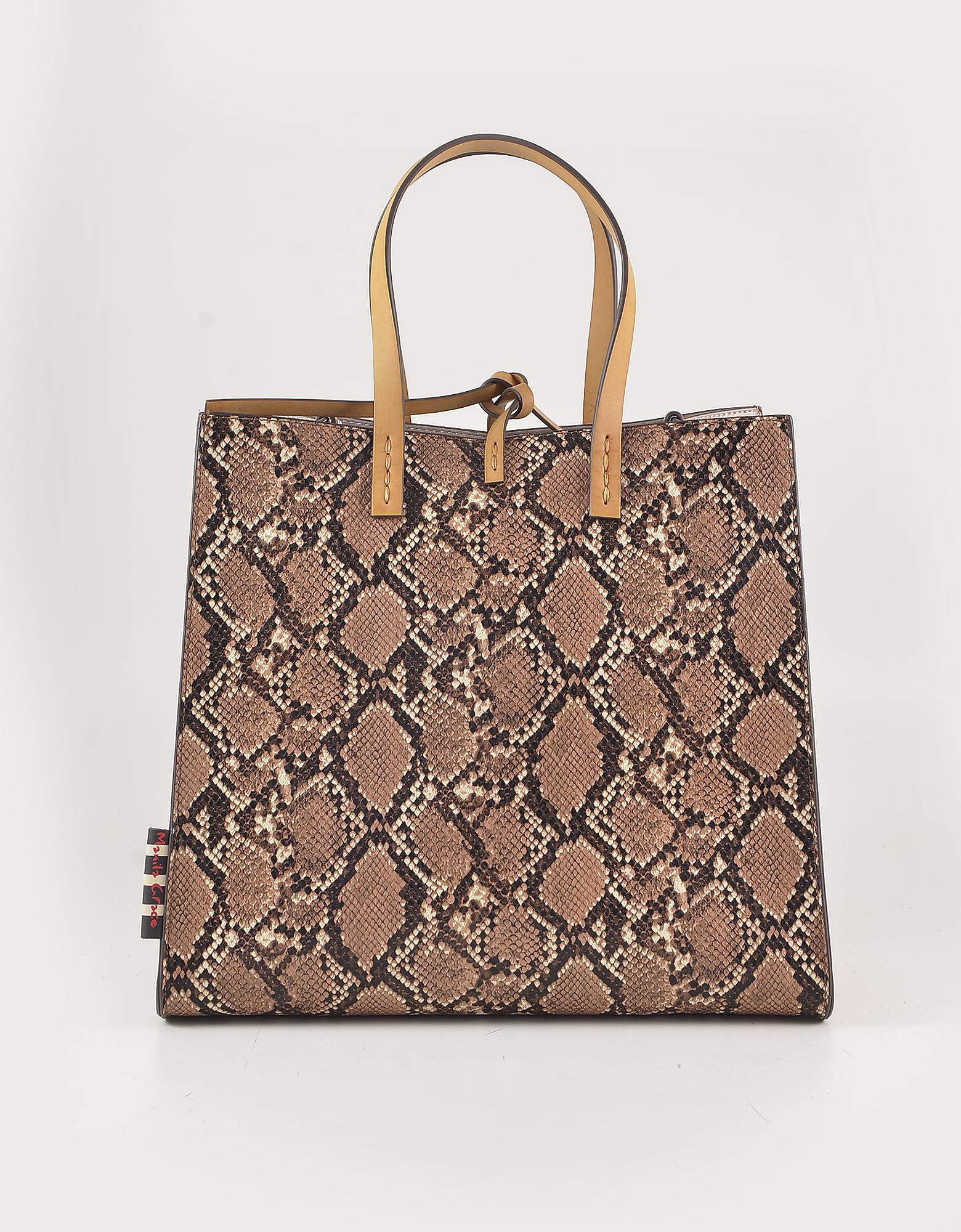 Manila Grace Animal Print Brown Eco Leather Tote Bag