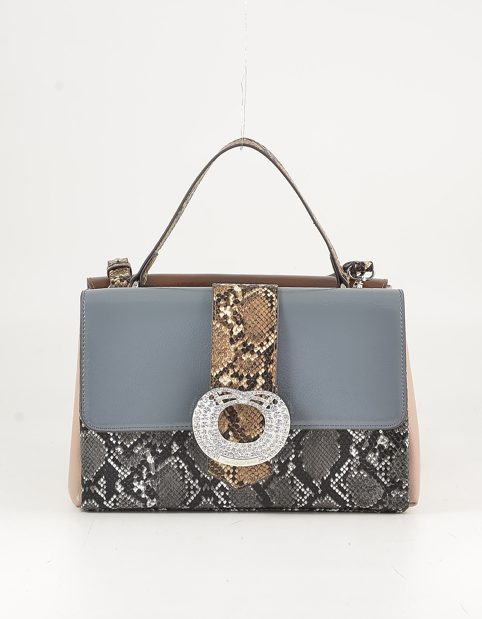 Manila Grace Animal Print & Pink Top Handle Bag In Black