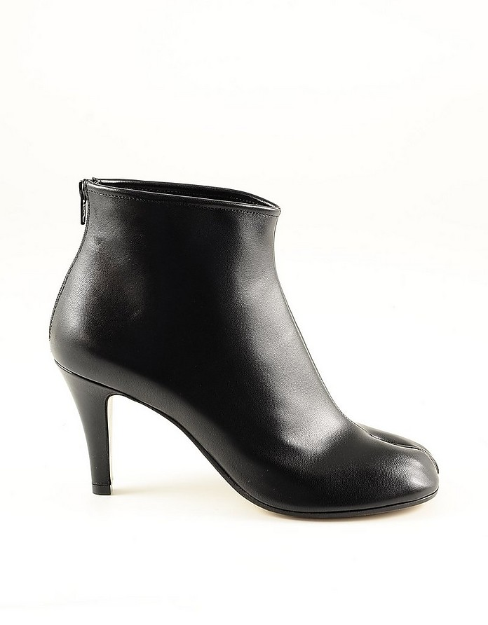 Black Leather Women's Booties w/Zip - Maison Margiela