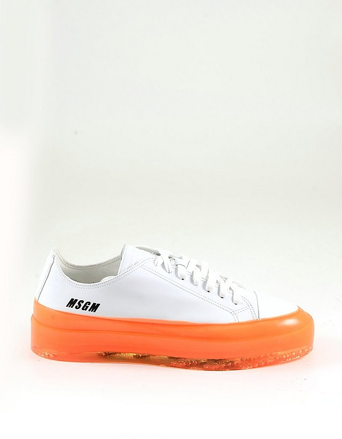 White and Orange Men's Sneakers - MSGM