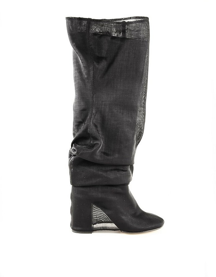 Black Leather Covered Knee-high Women's Boots - MM6 Maison Martin Margiela