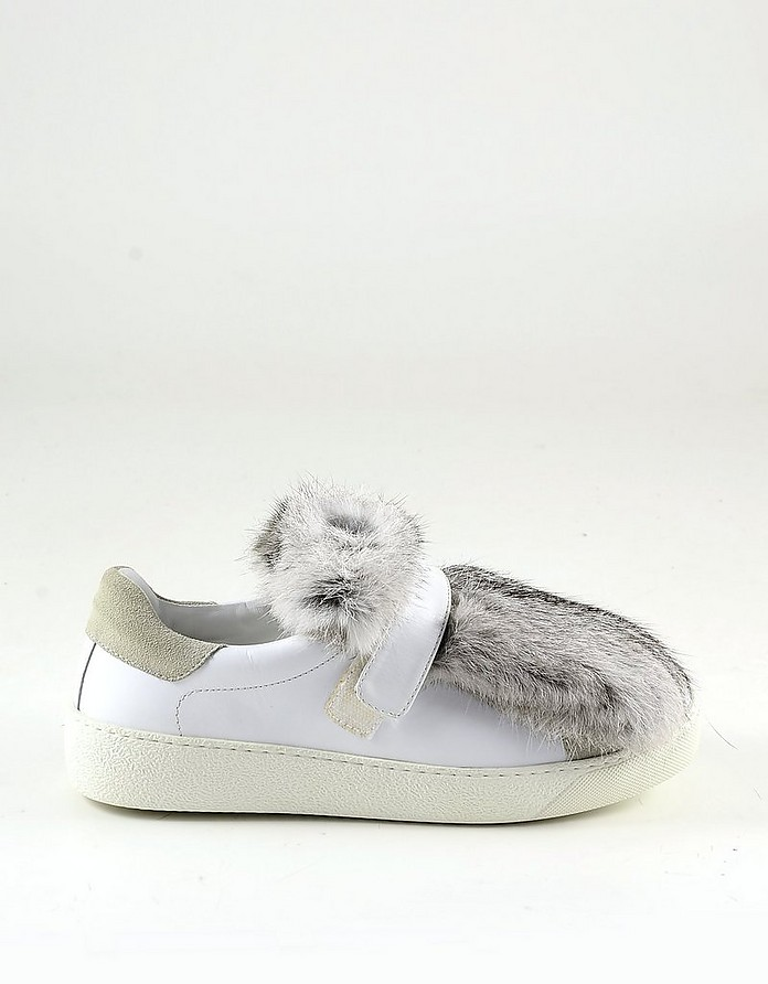 White Leather Women's Furry Sneakers - Moncler