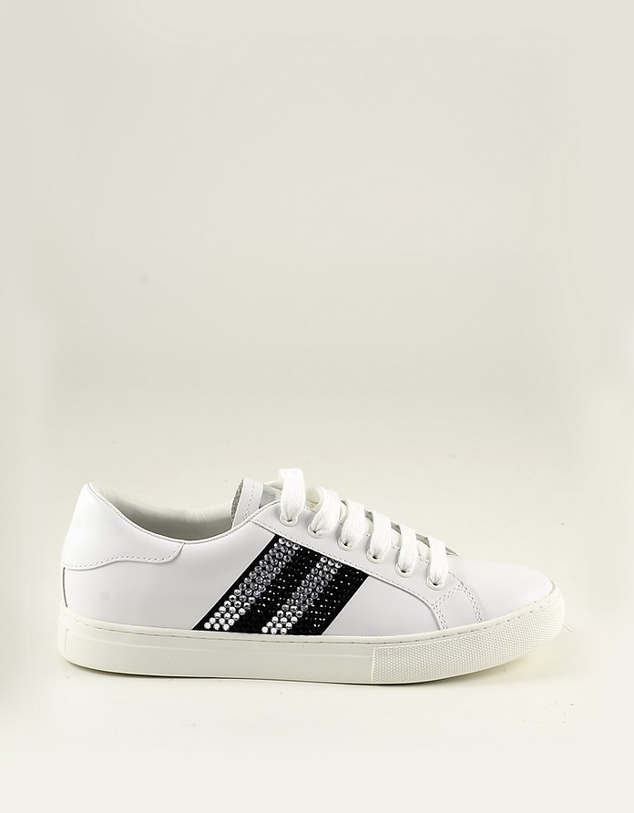 White Leather with Black Crystals Women's Sneakers - Marc Jacobs