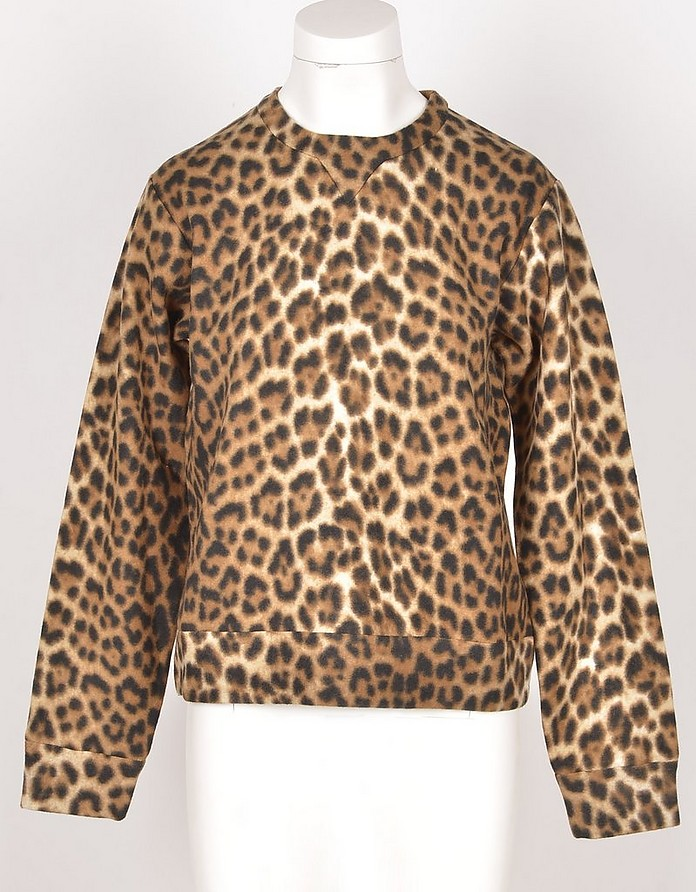 Brown Animal Printed Cotton Women's Sweatshirt - N°21