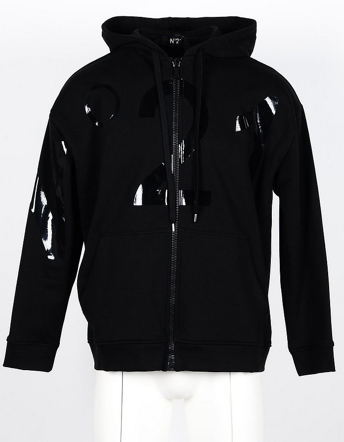 Black Cotton Men's Zip-Up Hoodie - N°21
