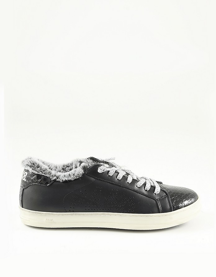 Black Eco Leather and Fur Women's Sneakers - P448