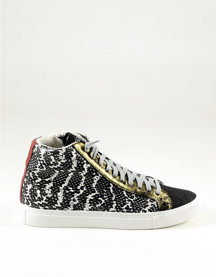 Python Print Mid-Top Women's Sneakers - P448