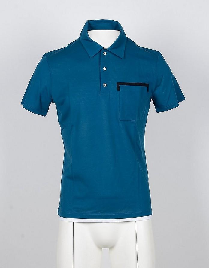 Petrol Blue Cotton Men's Polo Shirt - Paolo Pecora