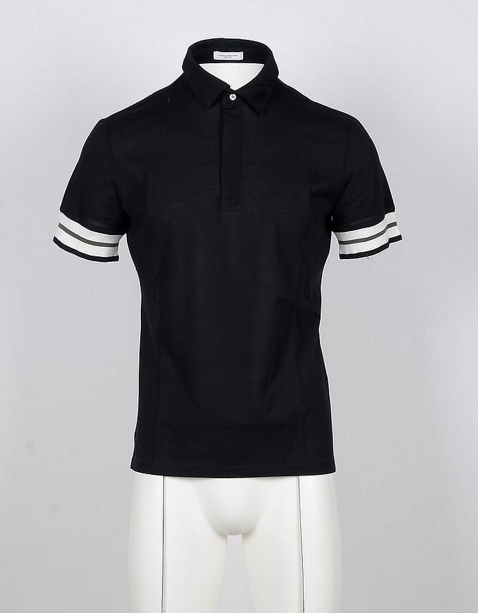 Black Cotton Men's Polo Shirt - Paolo Pecora
