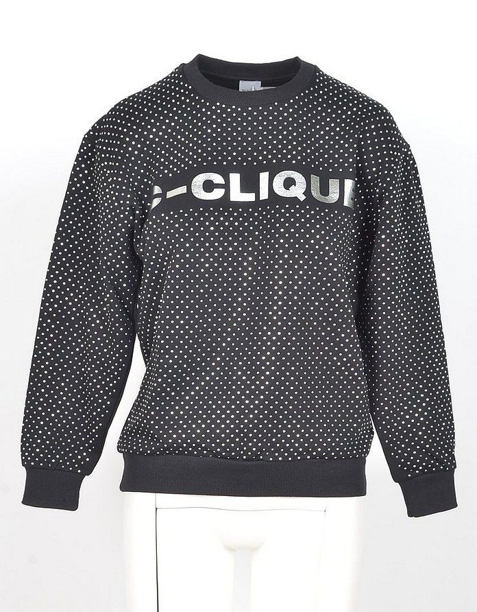 Black&White Polka-dots Printed Cotton Women's Sweatshirt - Pinko