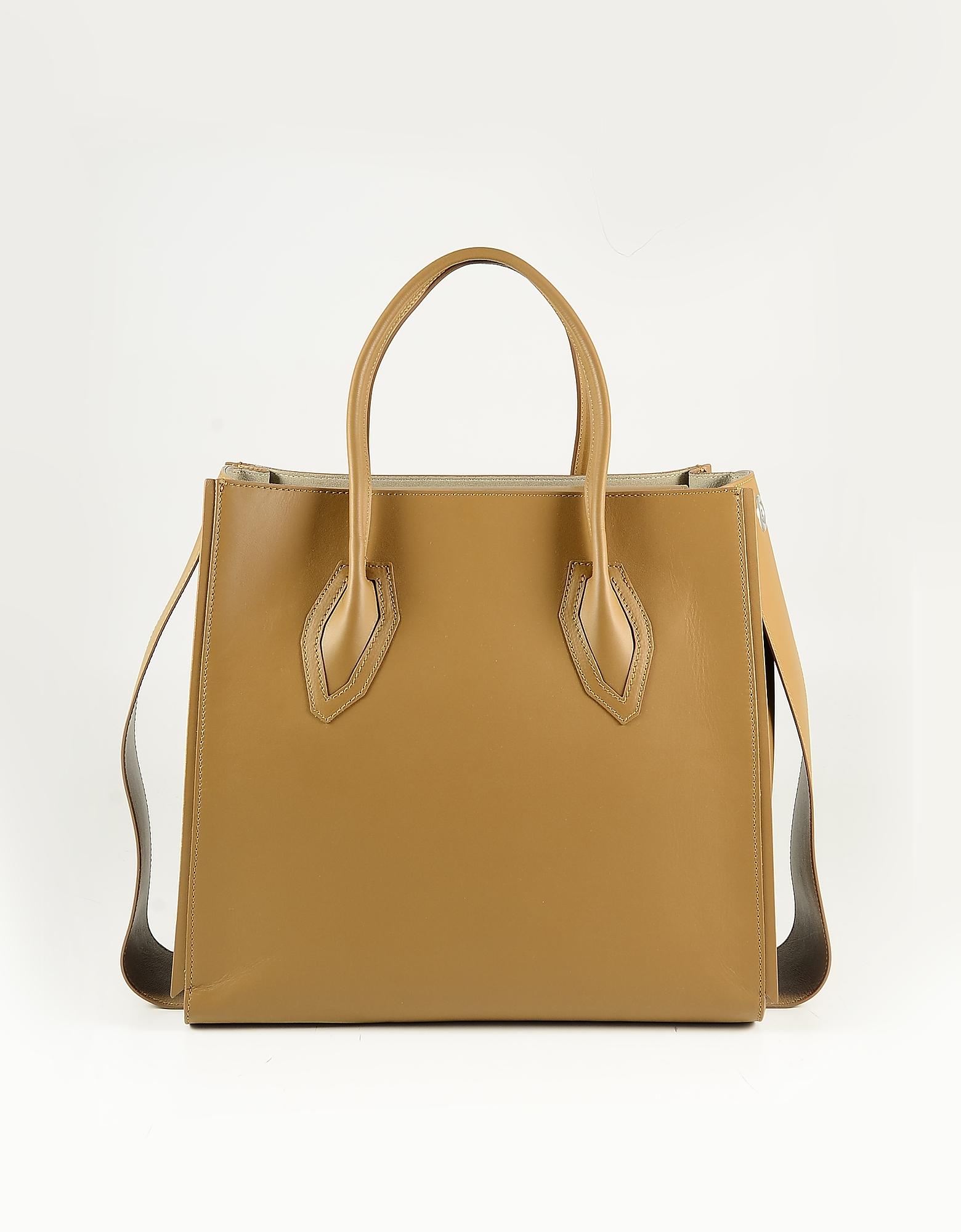 Patrizia Pepe Brown Leather Tote Bag
