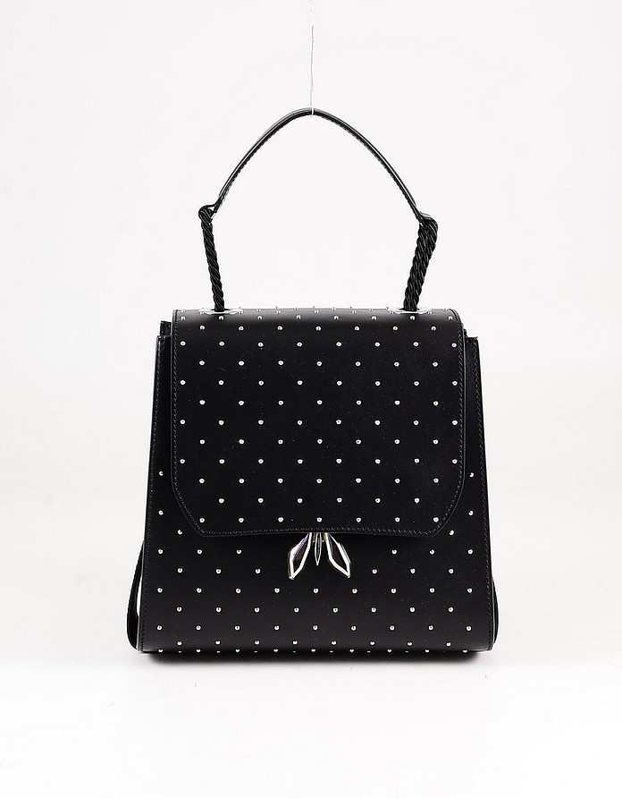 Black Studded Leather Top-Handle Bag - Patrizia Pepe / パトリツィア ペペ