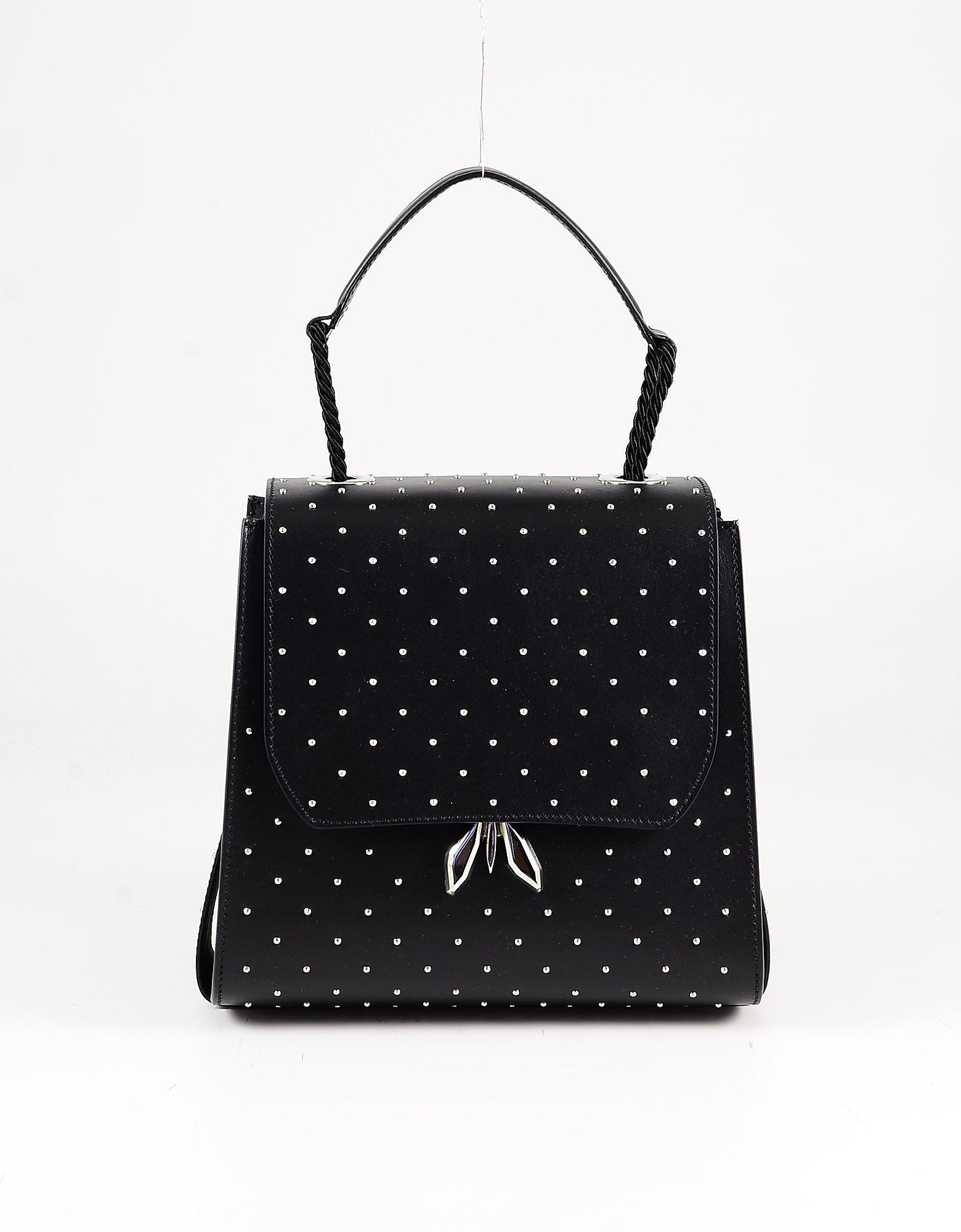 Patrizia Pepe Black Studded Leather Top-handle Bag