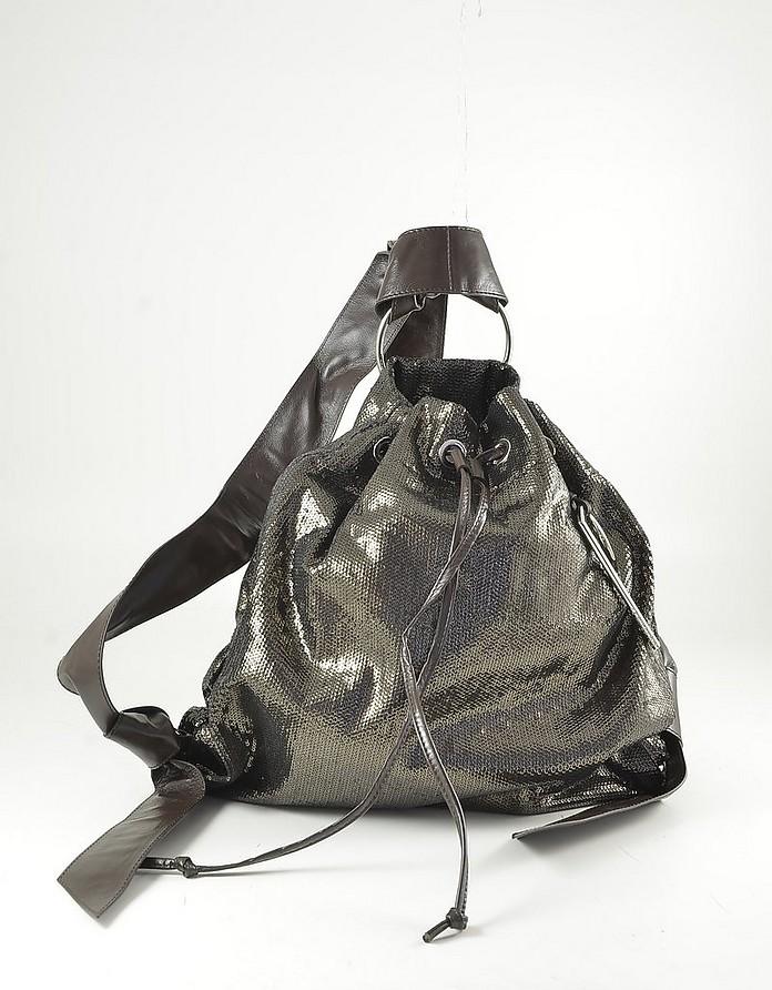 Metallic Brown Leather Triangle Backpack - Patrizia Pepe
