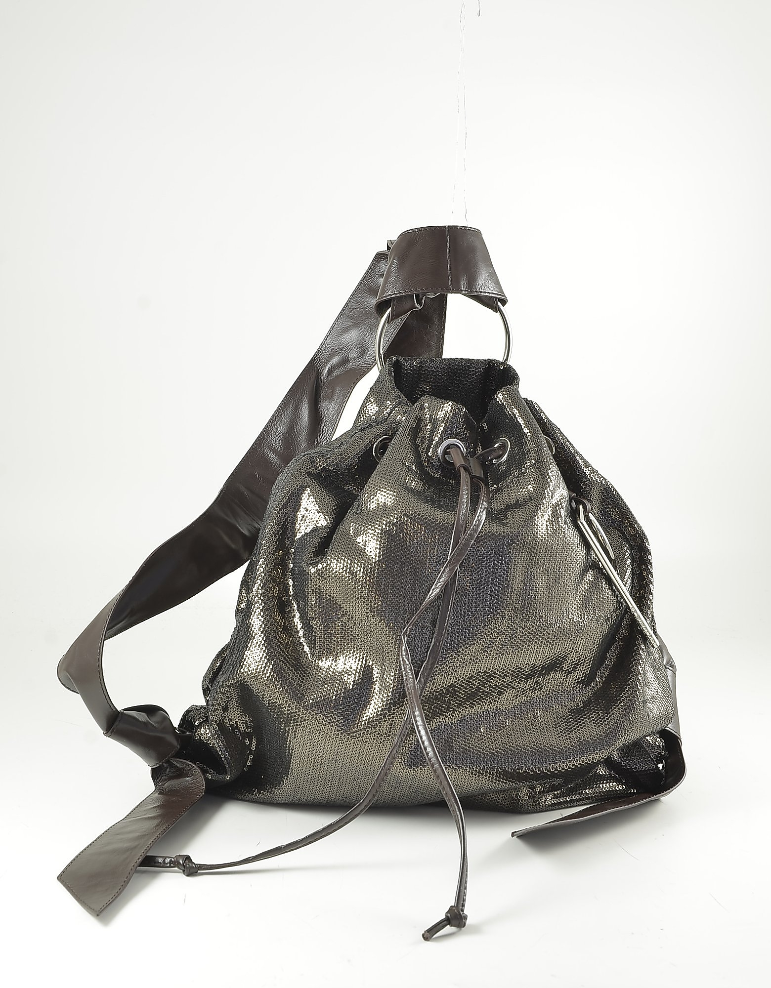 Patrizia Pepe Metallic Brown Leather Triangle Backpack In Bronze