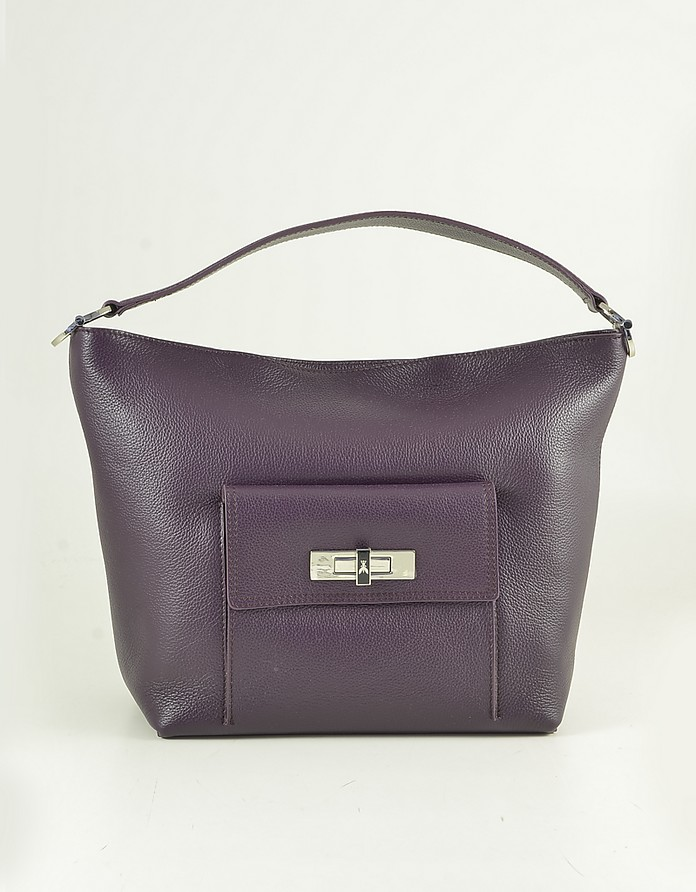 Purple Leather Trapeze Shoulder bag Bag - Patrizia Pepe
