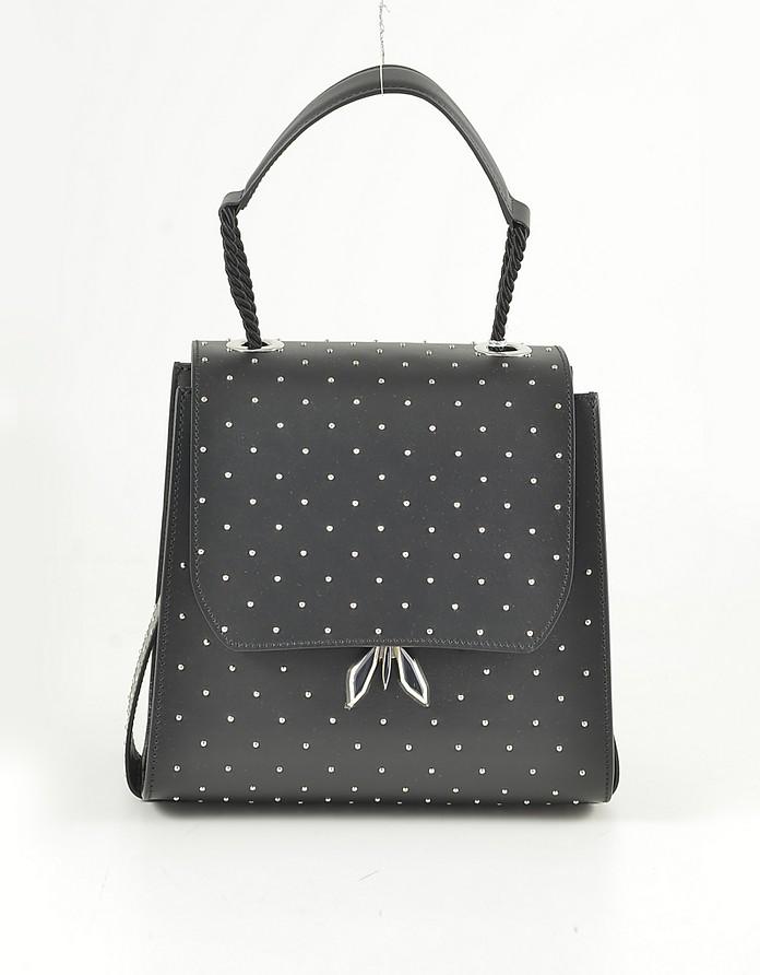 Black Leather Top-Handle Shoulder Bag w/Studs - Patrizia Pepe