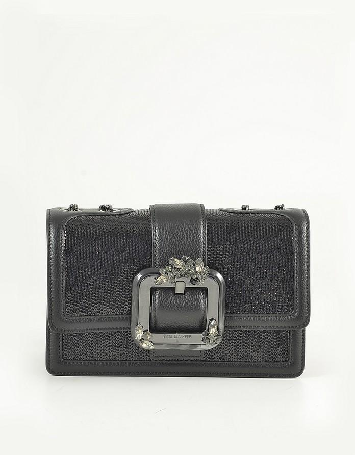 Black Leather and Sequins Shoulder Bag - Patrizia Pepe