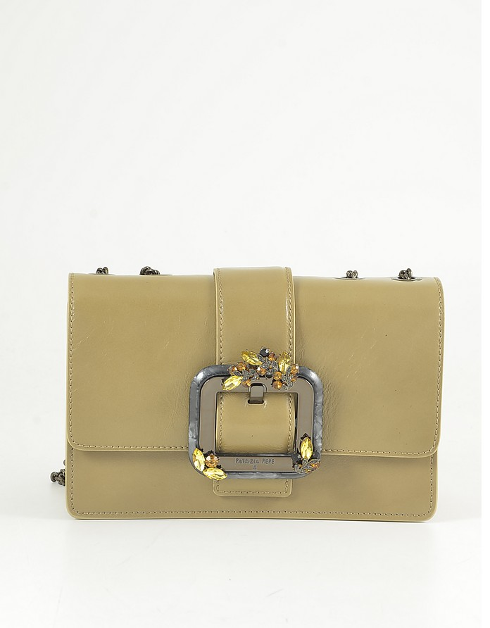 Camel Leather Shoulder Bag w/Oversized Buckle - Patrizia Pepe