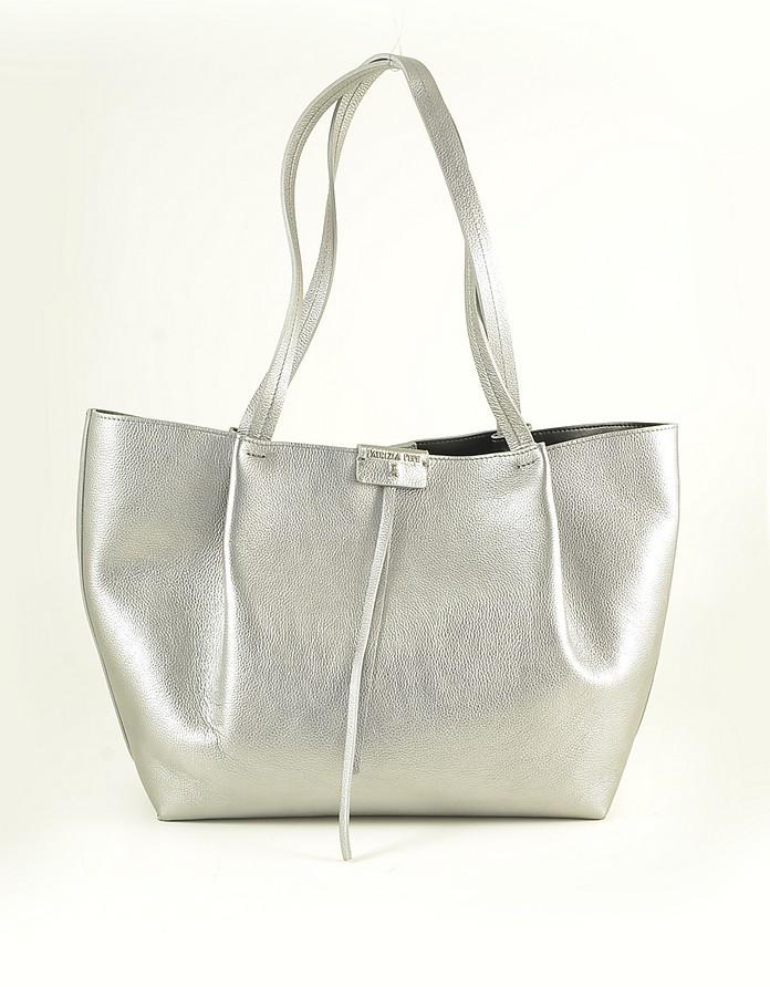 Silver Laminated Leather Tote Bag - Patrizia Pepe