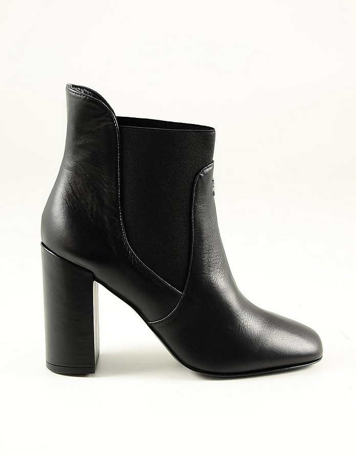 Black Leather High Hell Ankle Boots - Patrizia Pepe