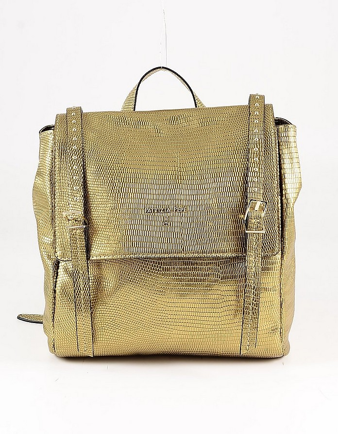 Bronze Embossed Leather Backpack - Patrizia Pepe