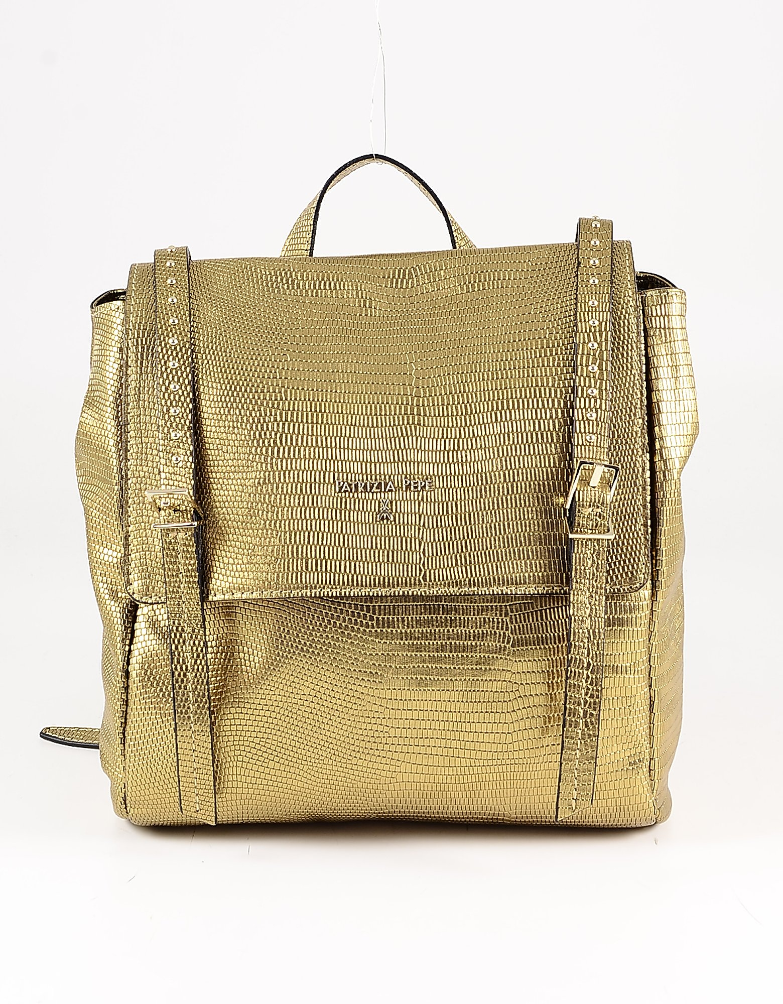 Patrizia Pepe Bronze Embossed Leather Backpack In Gold