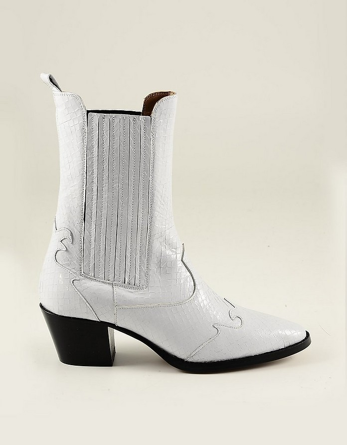 White Embossed Leather Cowboy Boots - Paris Texas