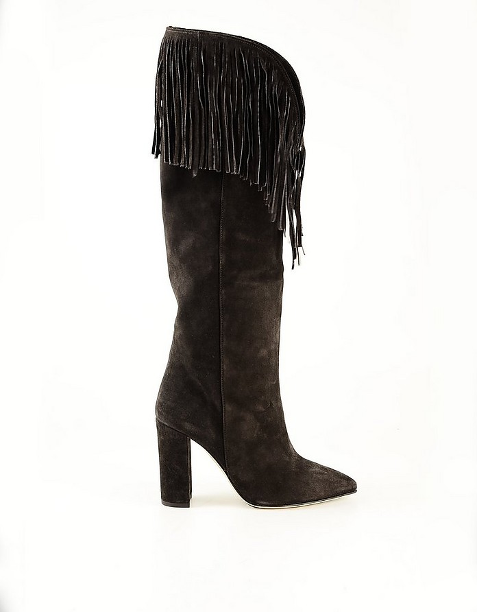 Brown Suede Women's Fringed High-Heel Boots - Paris Texas